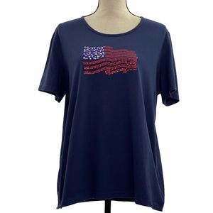 Coral Bay Embellished American Flag T-Shirt XL
